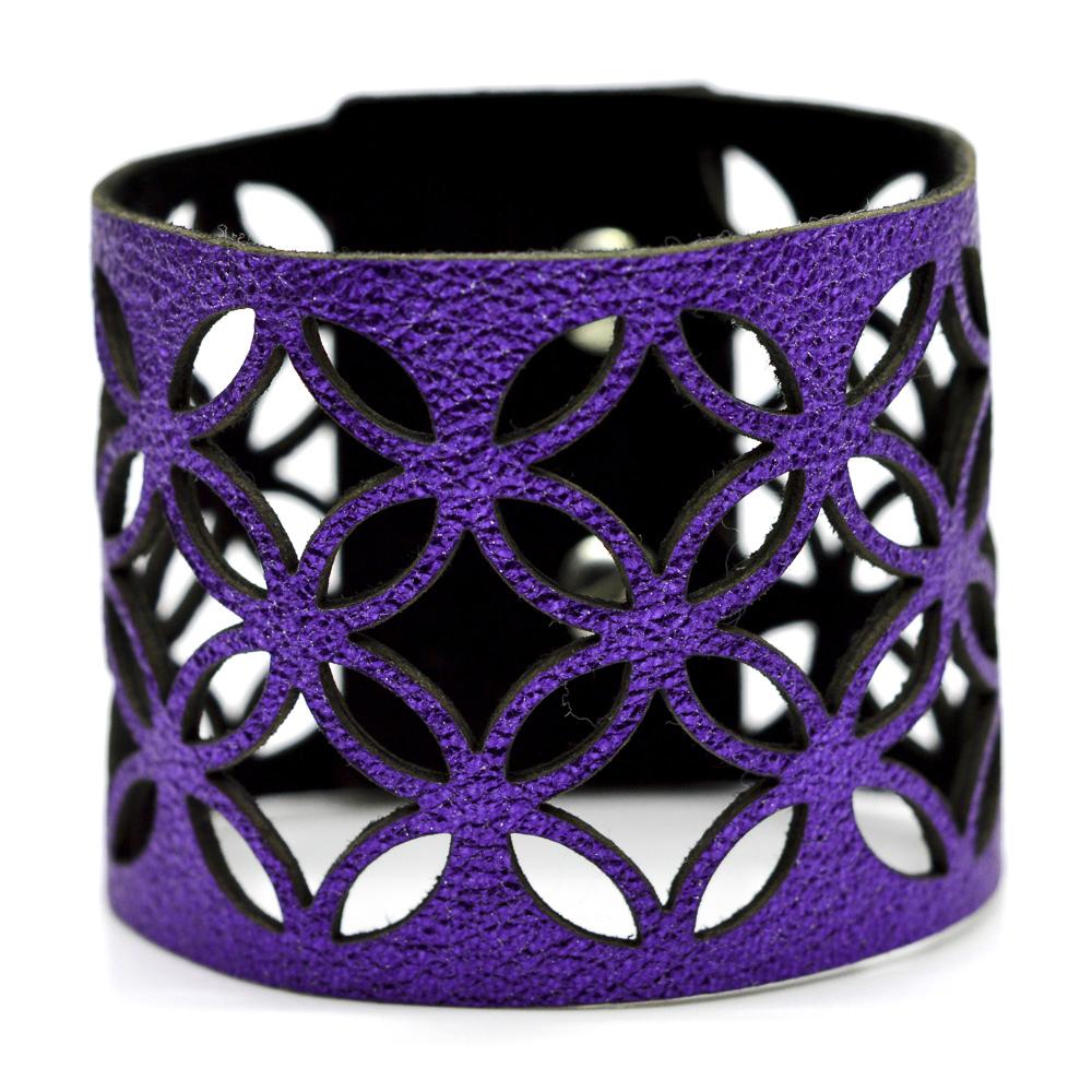 d85a7460c more_vertAzulejo Wide Leather Cuff - Purple