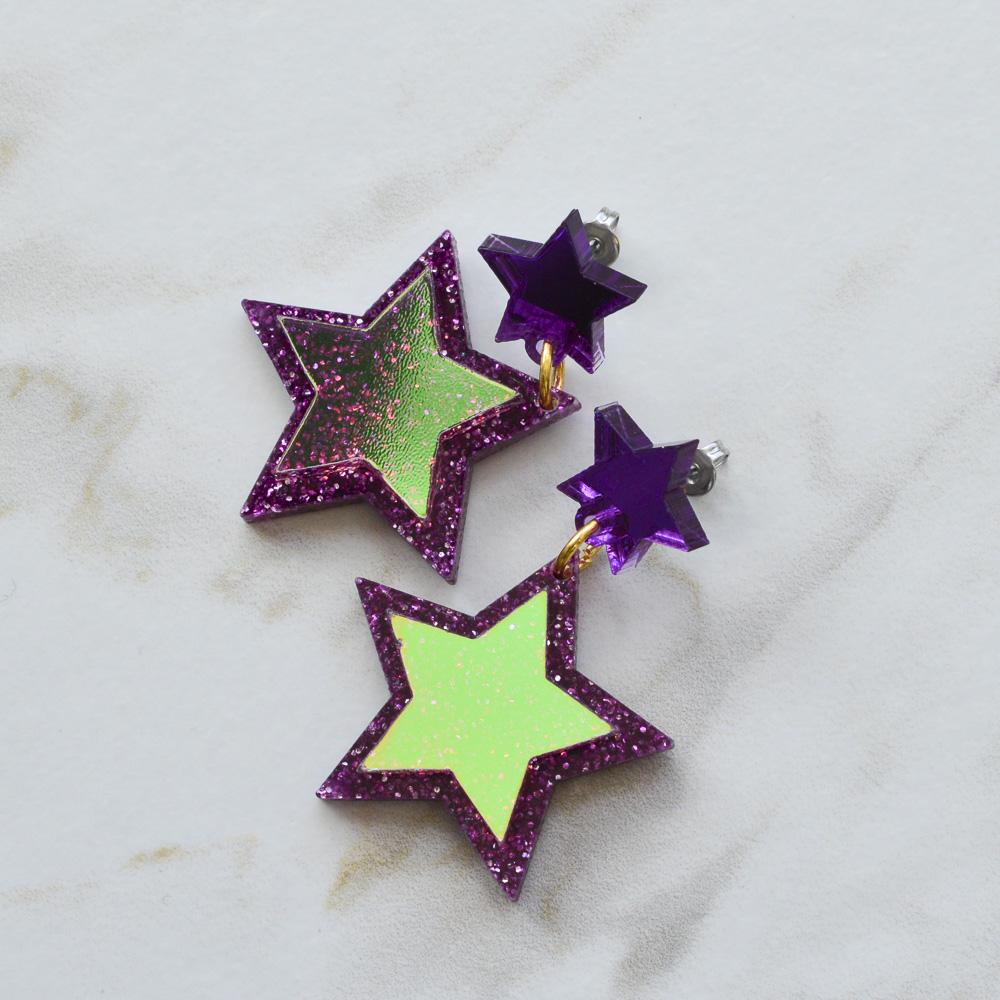 0e9533243 more_vertIridescent & Glitter Star Earrings - Purple