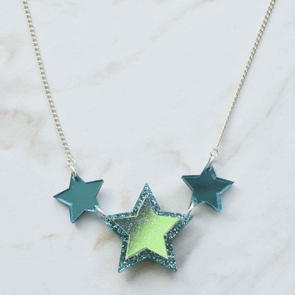 9929a16fd more_vertIridescent & Glitter Star Princess Necklace - Turquoise